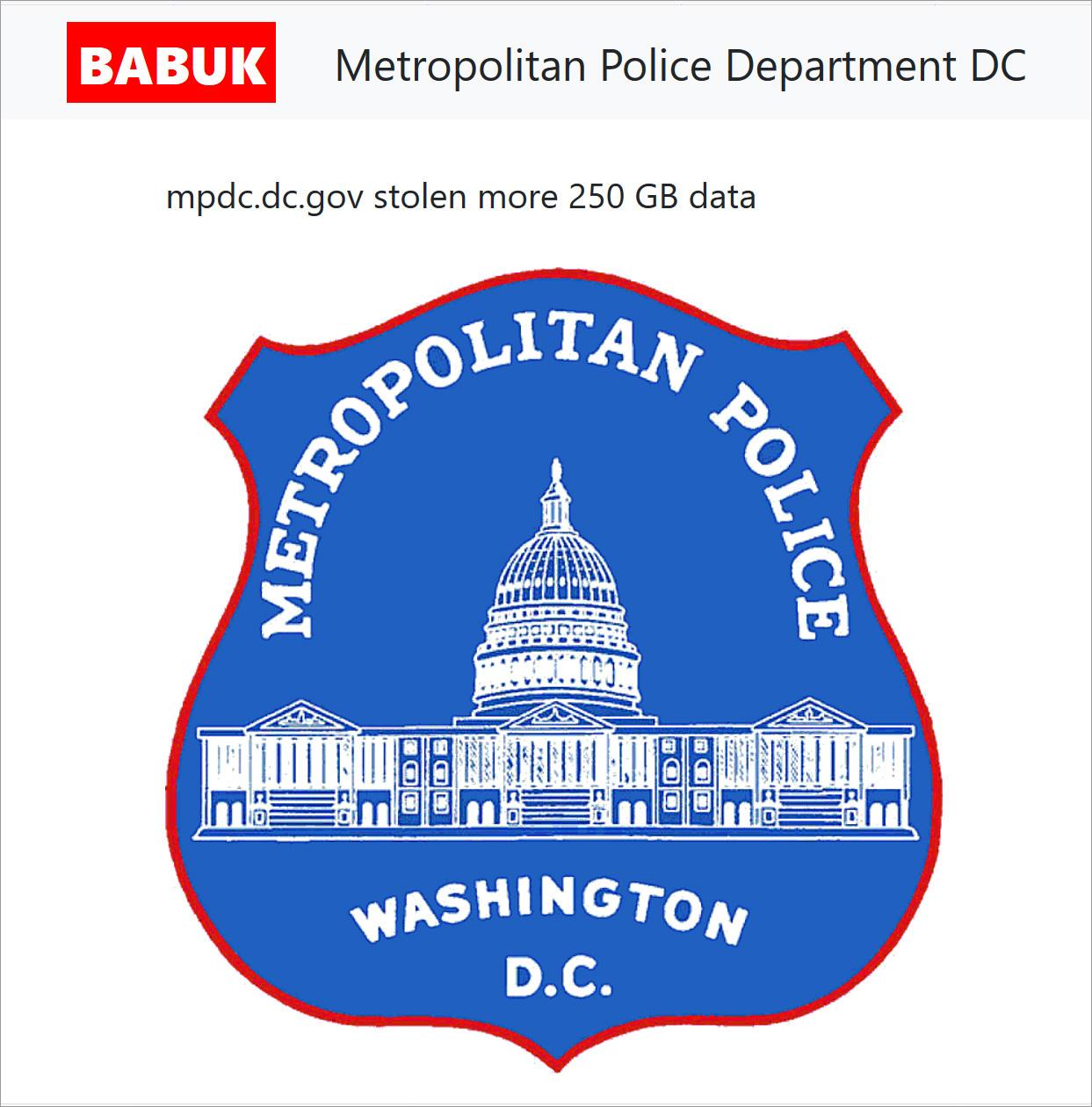 Babuk data leak page for the Metropolitan Police Department