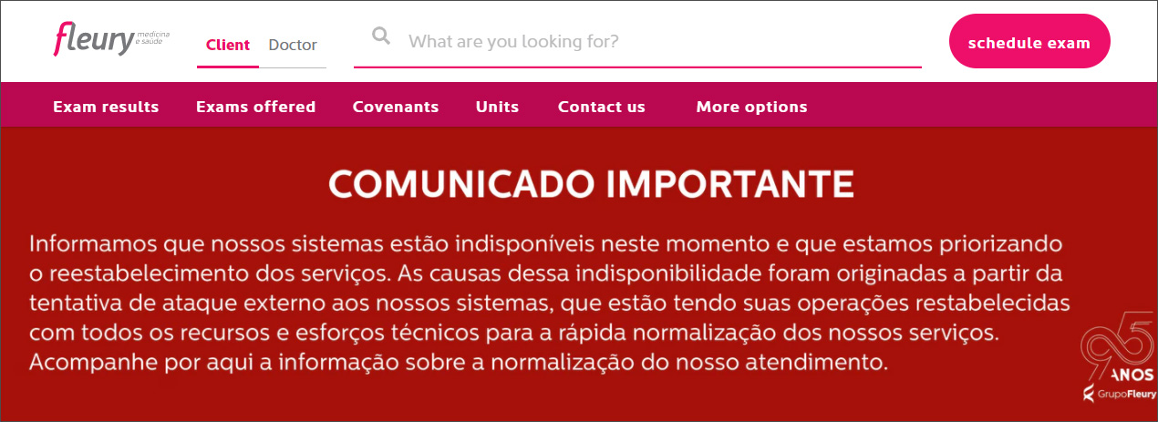 Annonce sur le site Internet de la cyberattaque