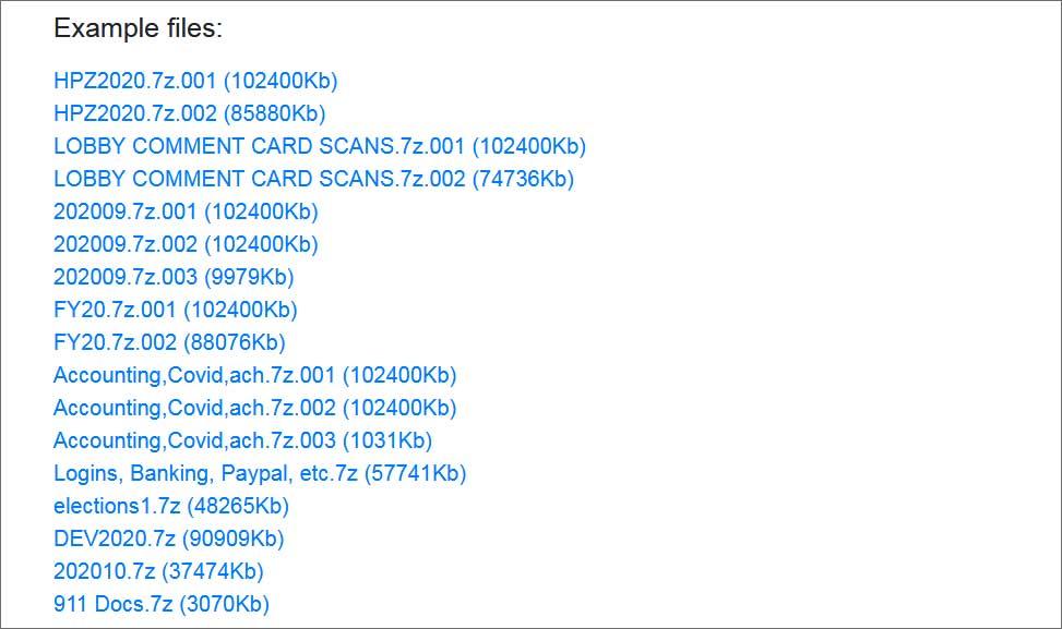 List of leaked data
