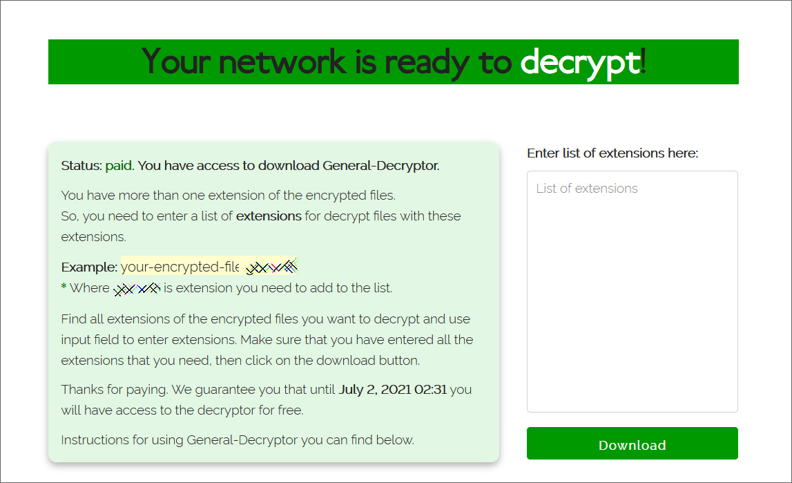 REvil decryptor available after ransom was paid