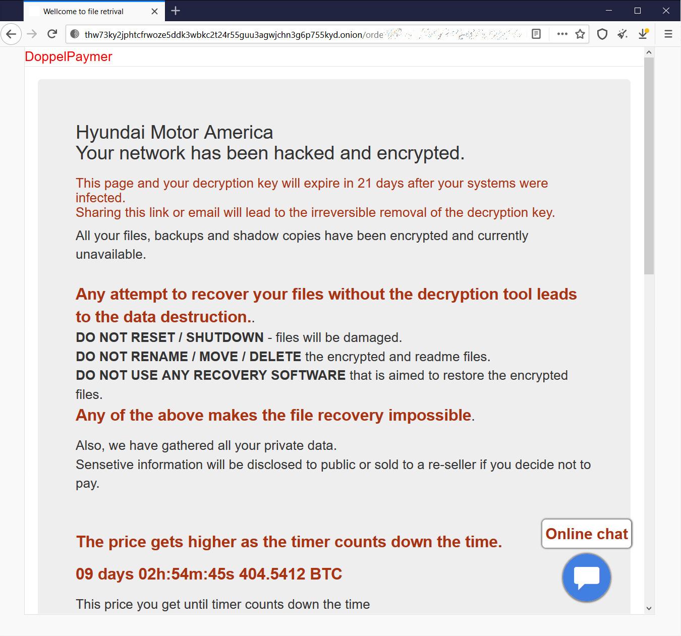 Mensagem com as informações de pagamento, disponível no link indicado pelos cibercriminosos, na mensagem de resgate. Foto: Bleeping Computer.