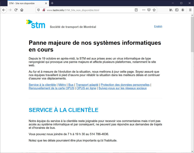 STM website outage information