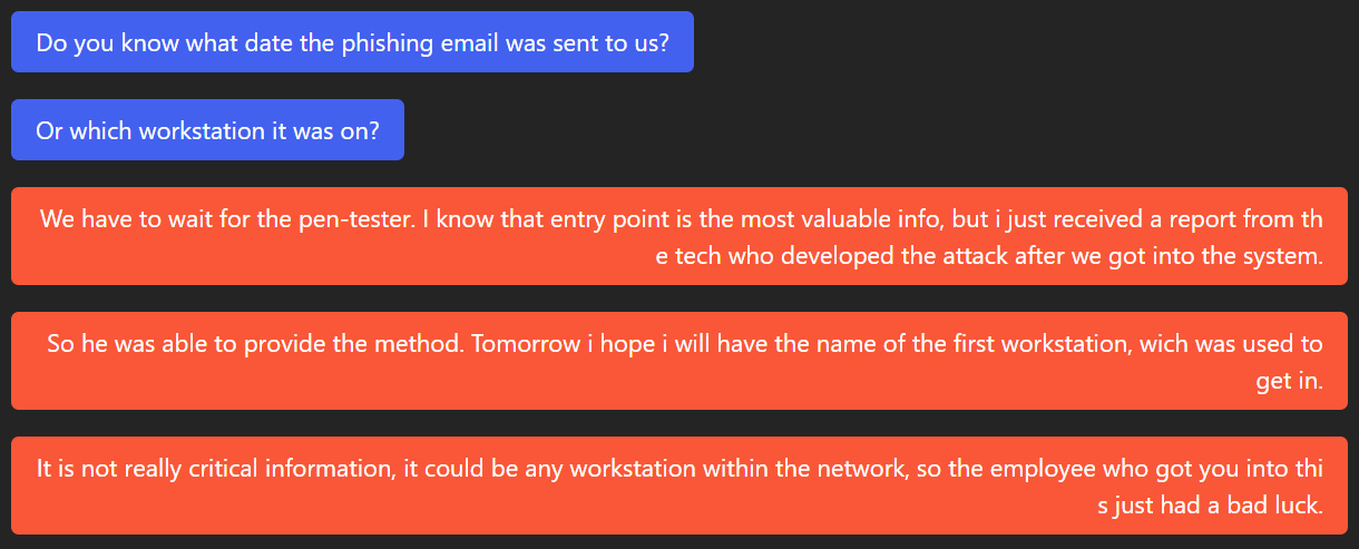 Chat about phishing email
