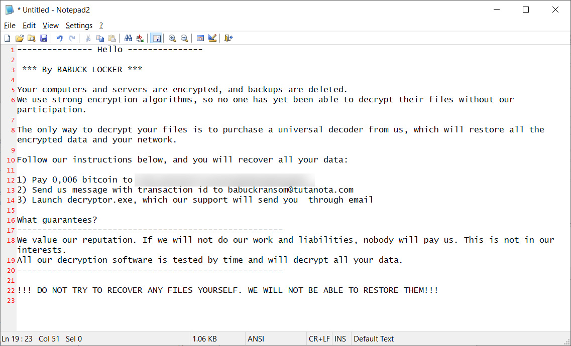 Ransom note from new Babuk ransomware attack
