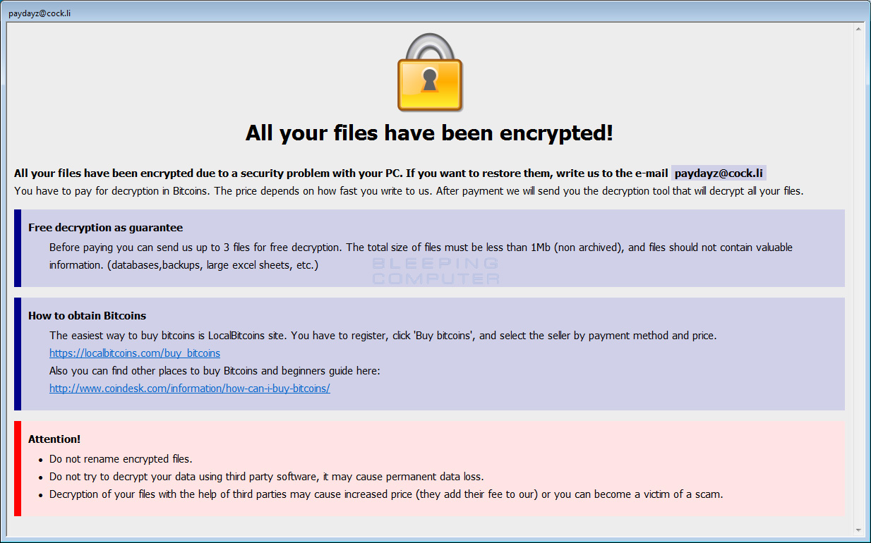 Shadow Ransomware Ransom Note