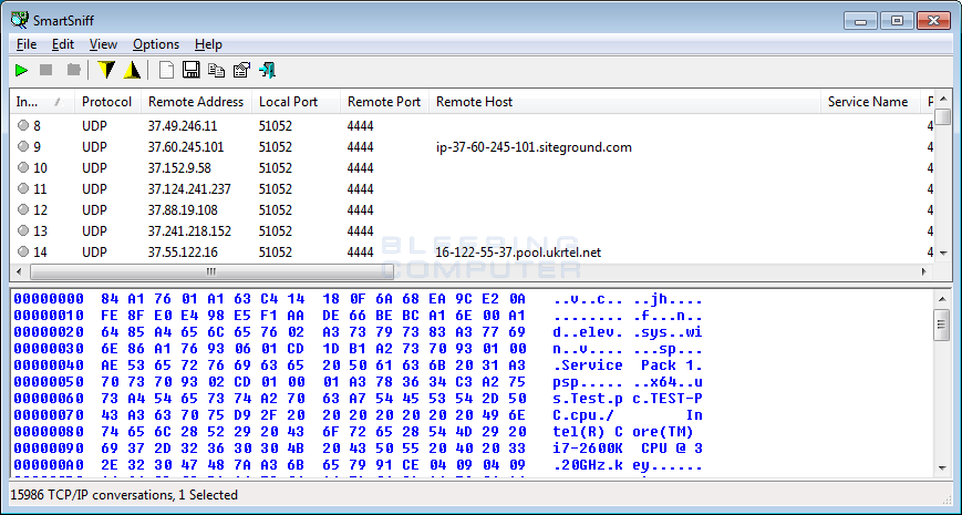 The CryLocker Ransomware Communicates using UDP and stores