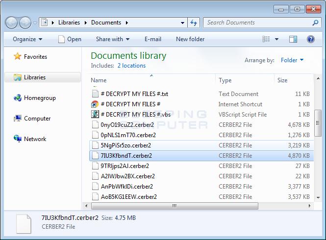 Cerber2 Encrypted Files