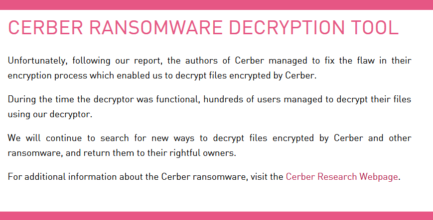 Message on CerberDecrypt.com