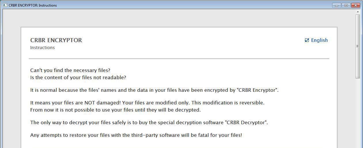 Cerber ransom note