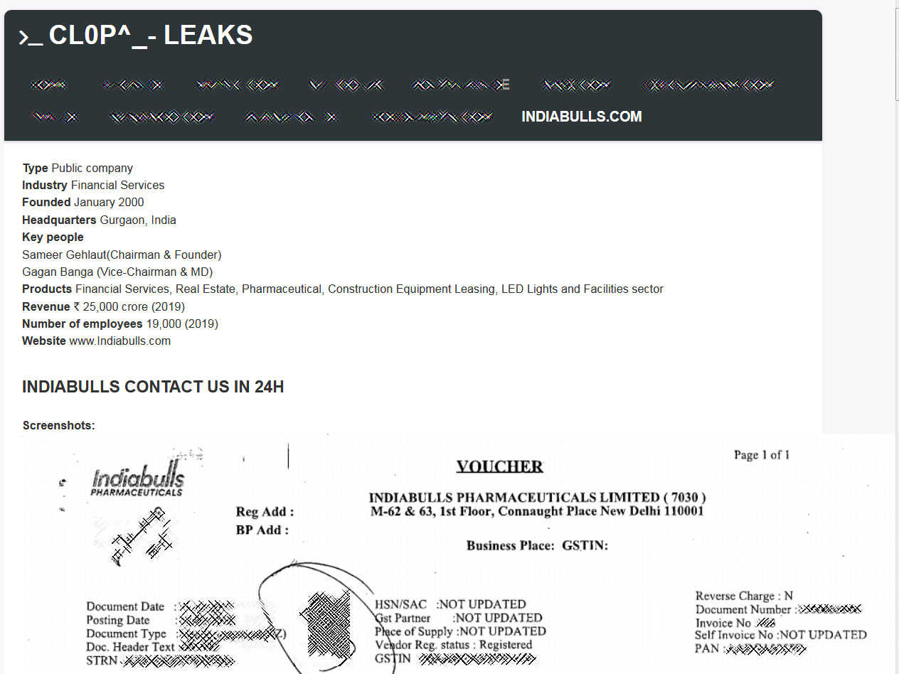 IndiaBulls leak on CLOP data leak site
