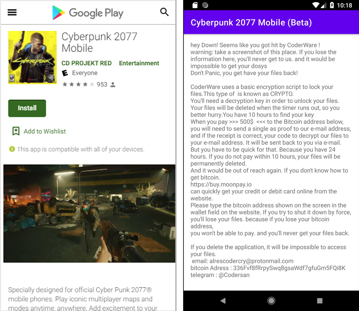 Ransomware disfrazado de juego Cyberpunk 2077 para dispositivos móviles
