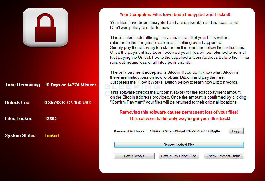 CryptoHost Ransomware Screen