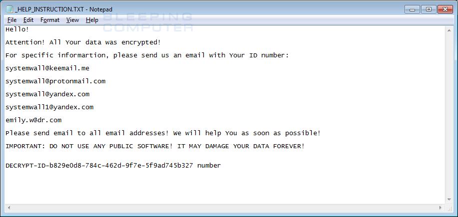 System CryptoMix Ransom Note