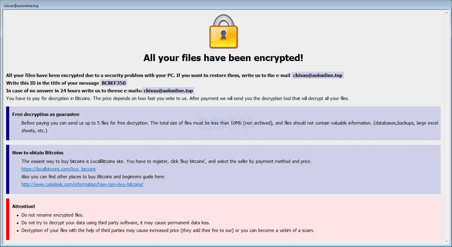 New Arena Crysis Ransomware Variant Released