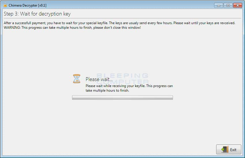 Chimera Decrypter waiting for the Decryption Key to be sent