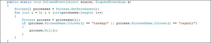 Code snippet that terminates the Taskmgr and Regedit Processes