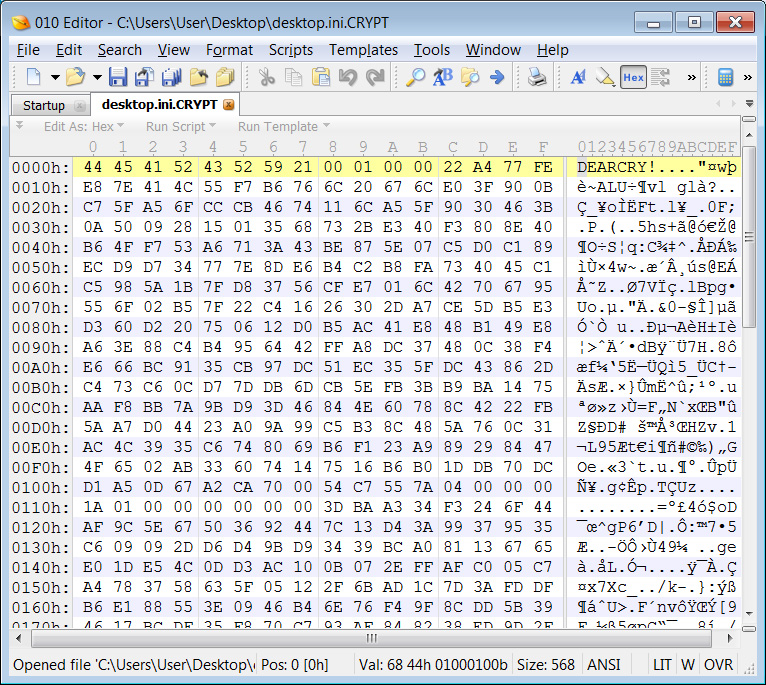 DEARCRY file marker in encrypted file