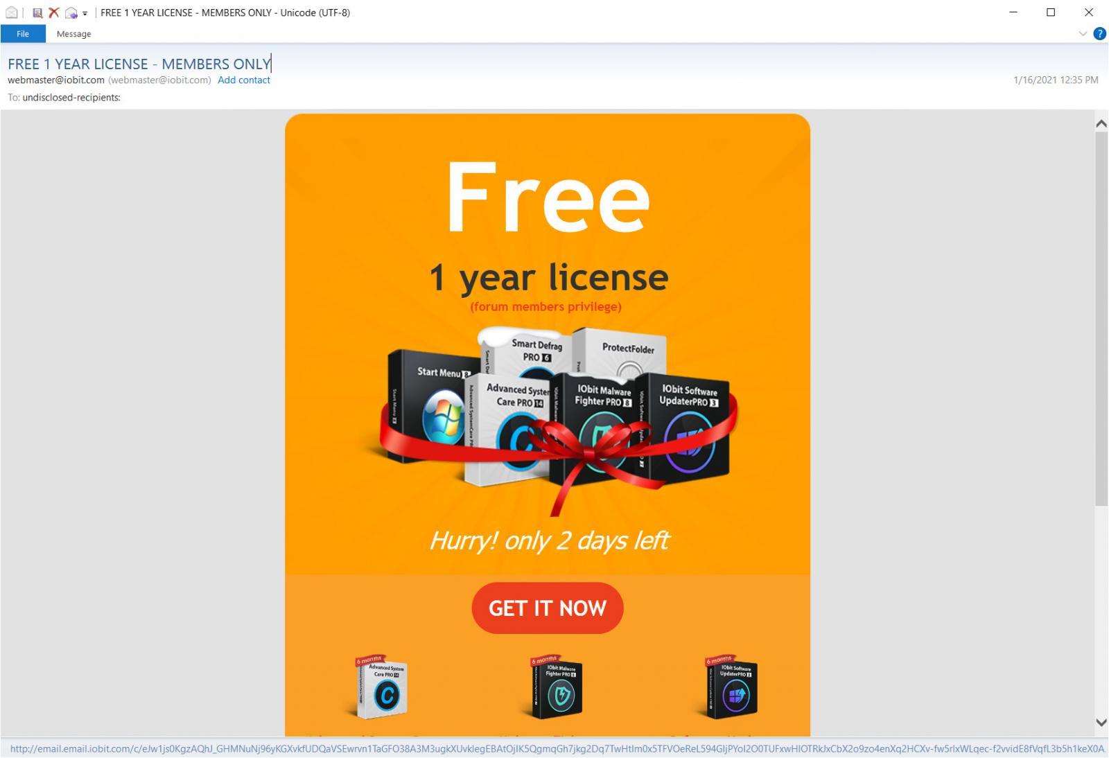 E-mail promotionnel IObit