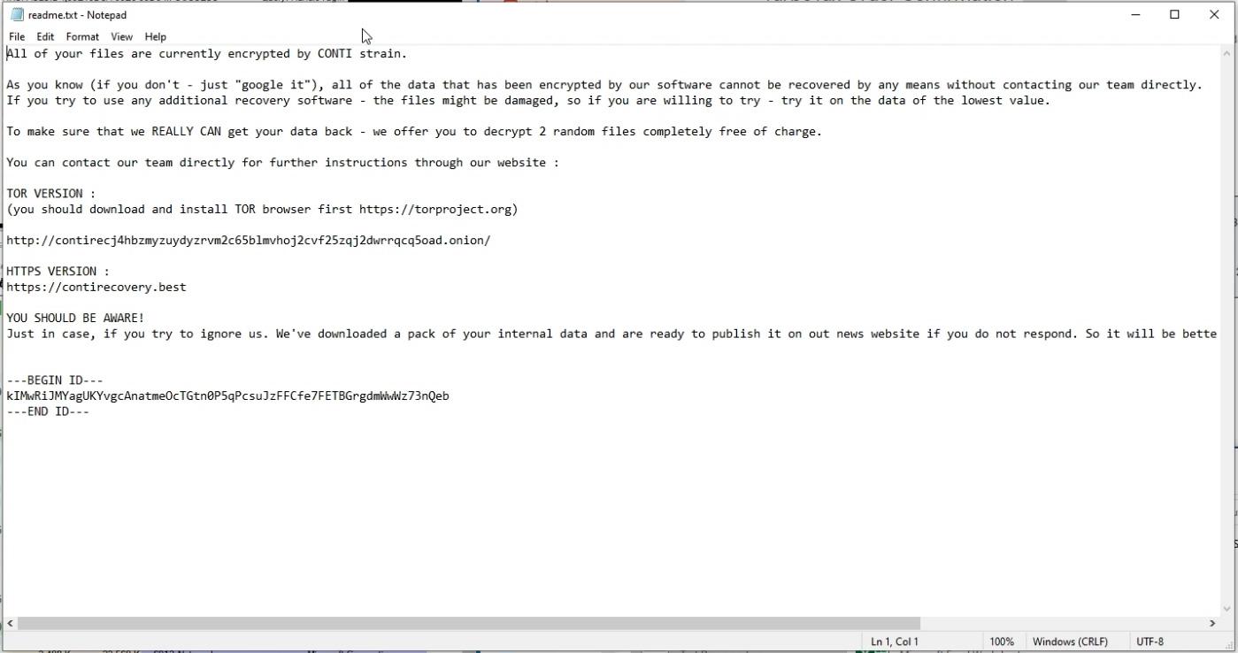 Conti ransom note