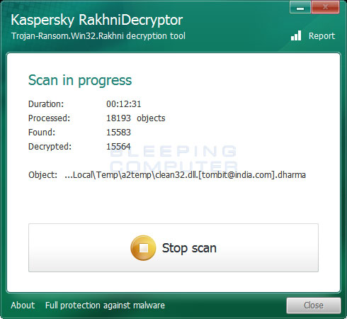 Scanning for Dharma Encrypted Files