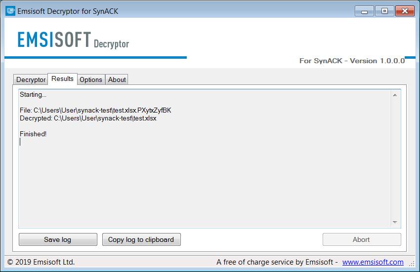 Giải mã tệp bằng trình giải mã SynAck