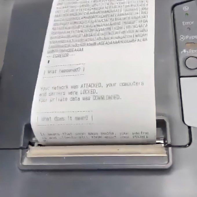 Egregorransom note printed on receipt printer