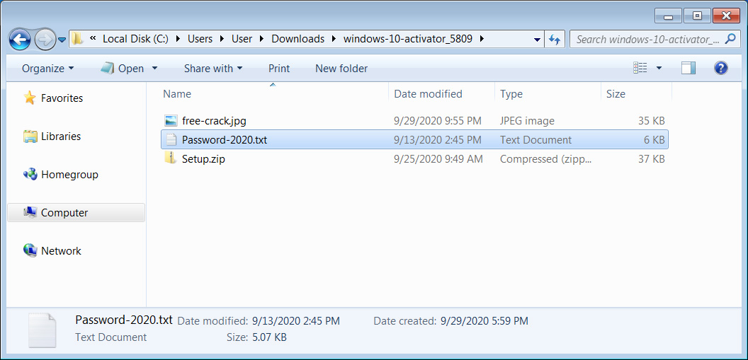 Archive with password protected zip file