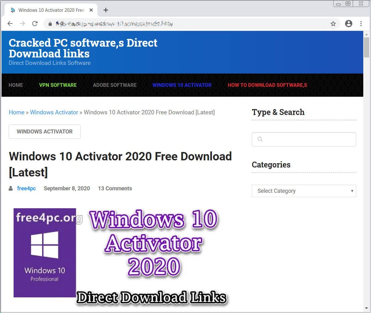 Fake software crack site