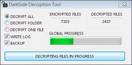 DarkSide operation ransomware decryptor