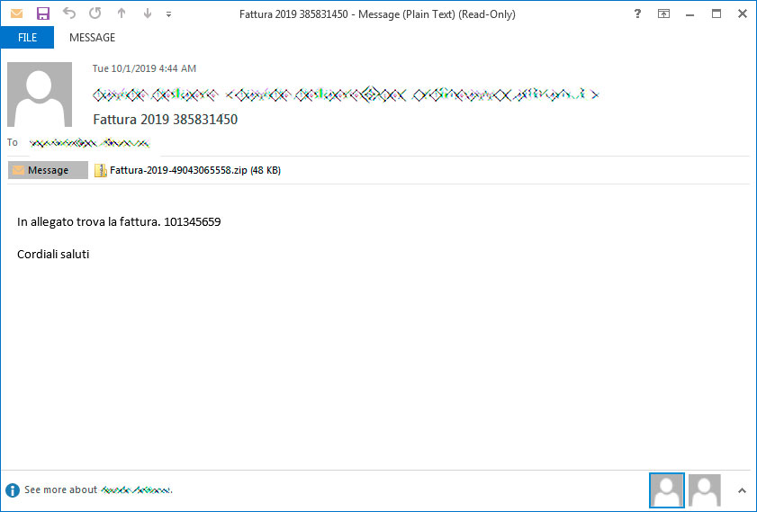 Example fattura spam email
