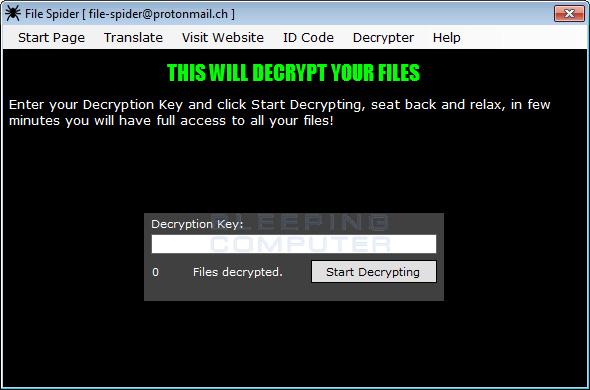 File Spider Decrypt Page
