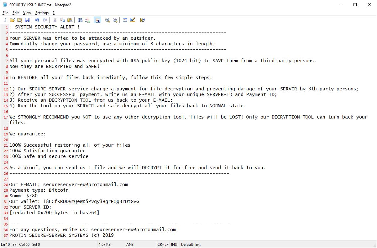Ransomware Pretends to Be Proton Security Team Securing Data