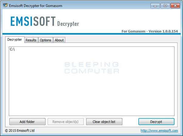 DecryptCryptInfinite Screen listing Encrypted Files