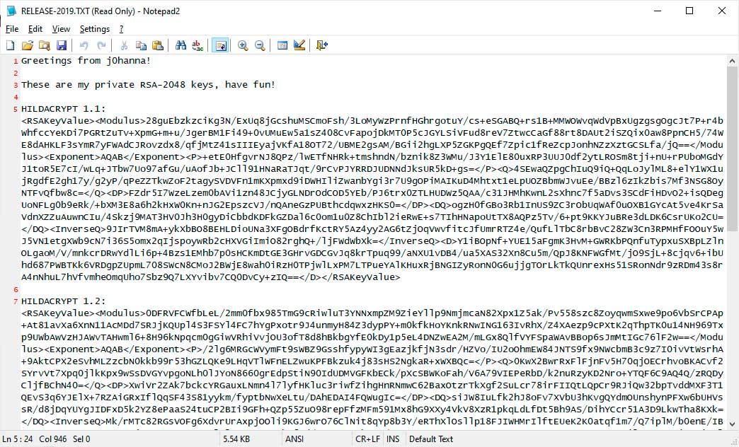 Çıkış HildaCrypt Şifre Çözme Anahtarları