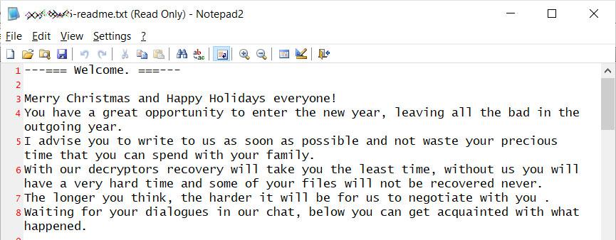REvil Holiday Ransom Note