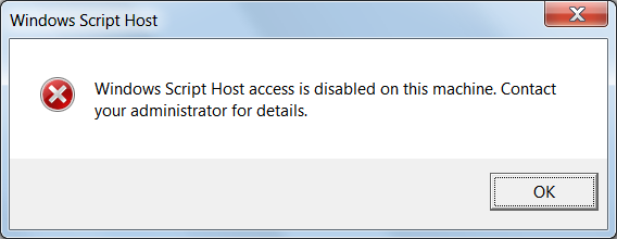 Windows Script Host Disabled