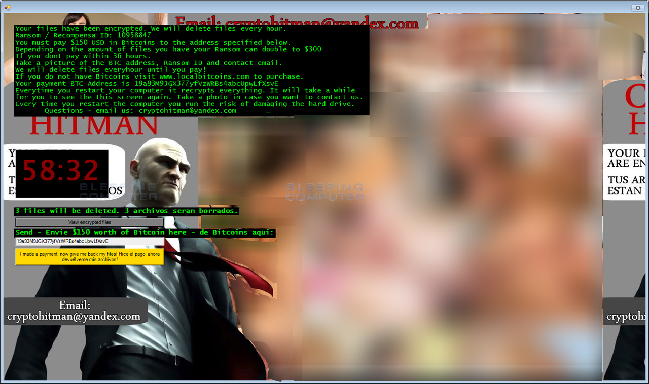 Hitman Ransomware Locker Screen