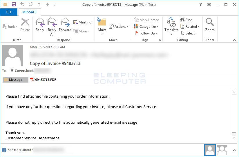 Jaff WLU Variant SPAM Email