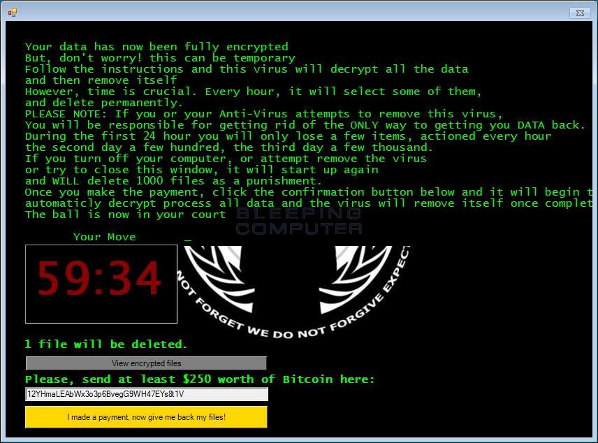 Anonymous Jigsaw Ransomware Screen