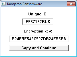Kangaroo showing the Encryption Key
