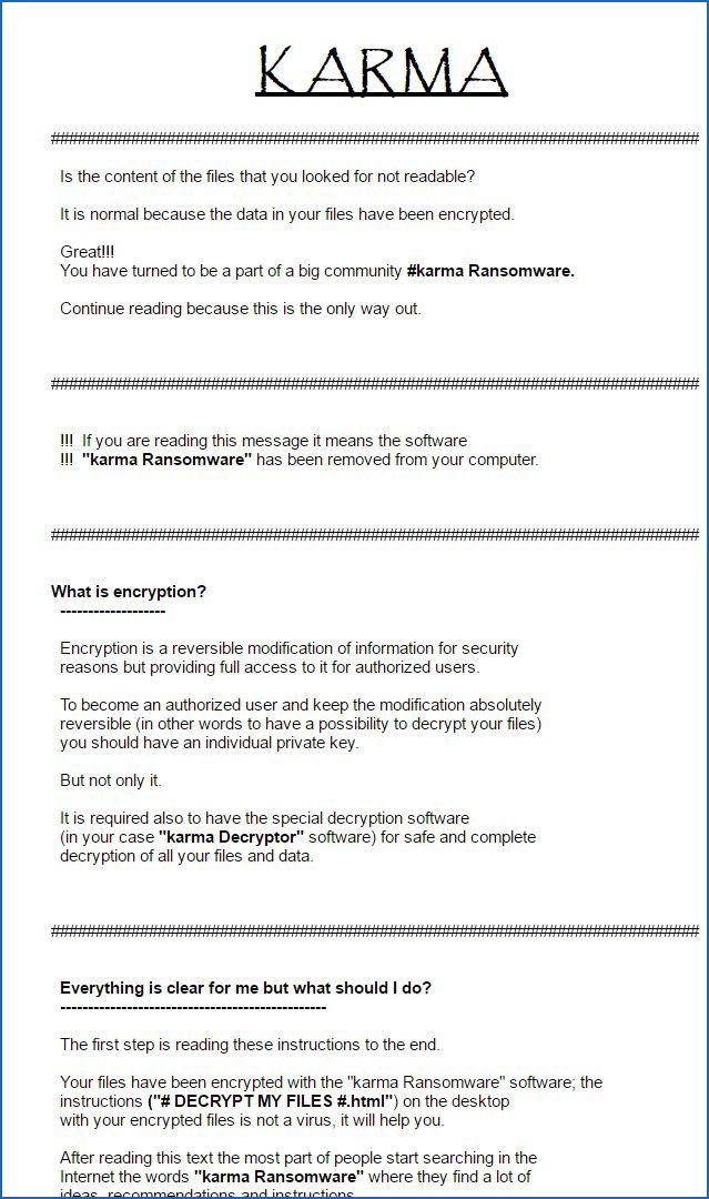 Karma Ransomware Ransom Note