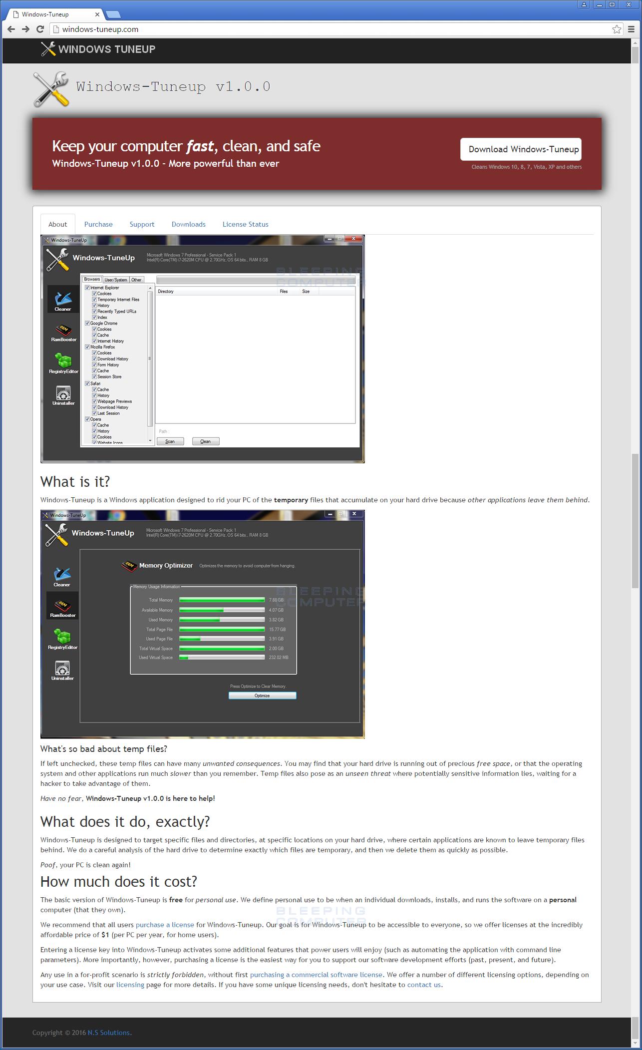 Windows-TuneUp Web Site