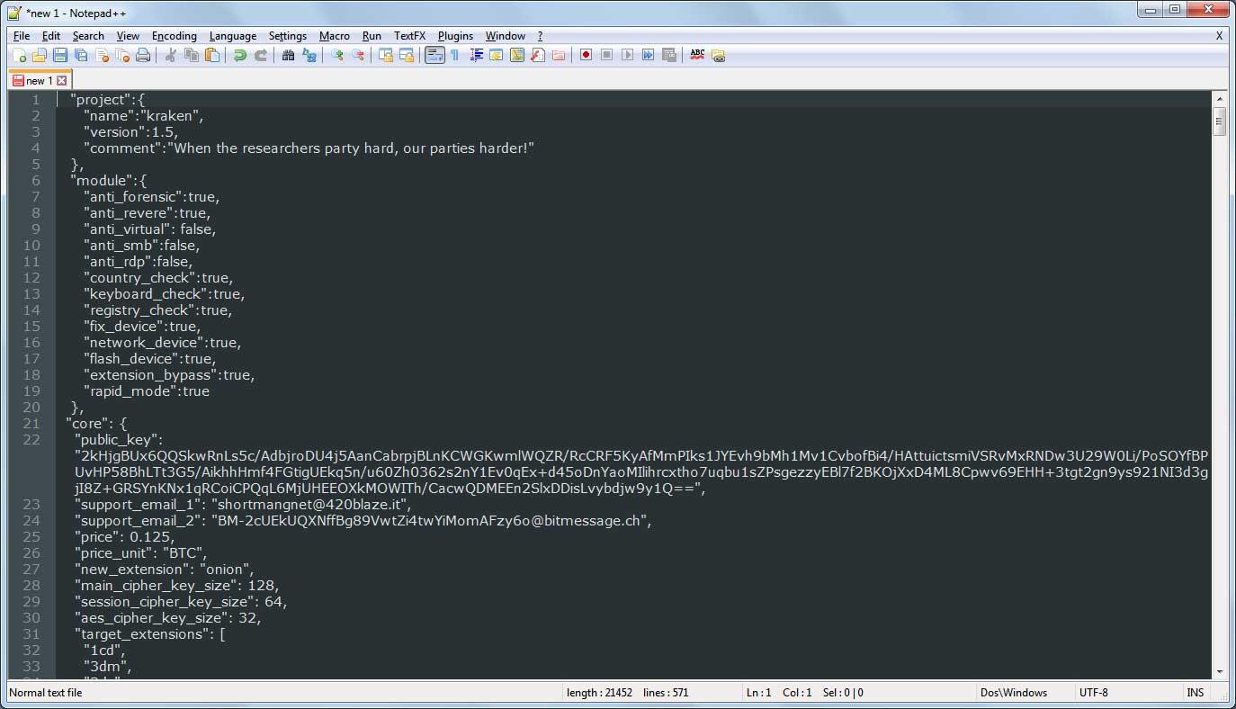 Portion of Kraken 1.5 configuration file