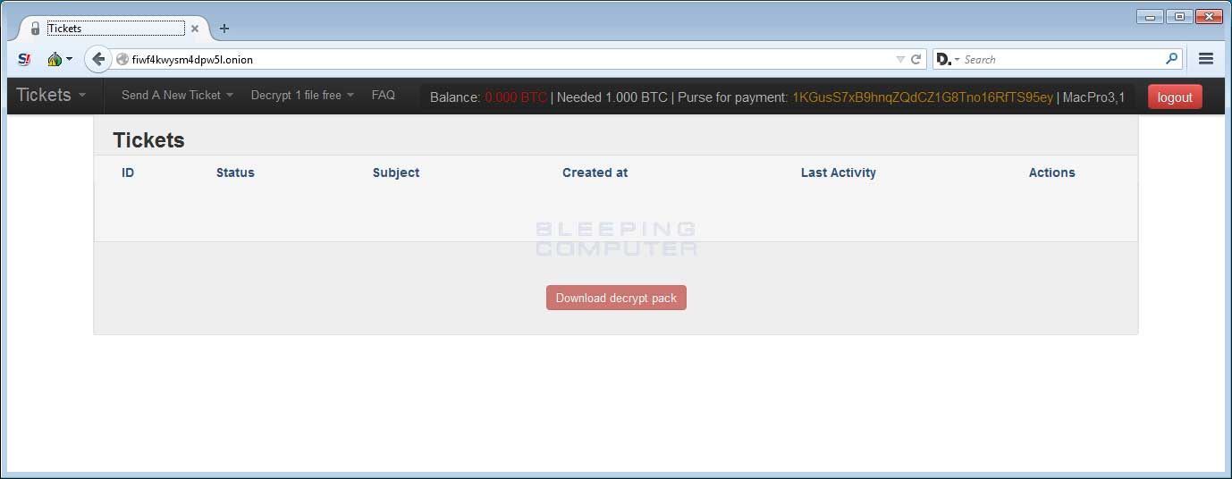 Payment Server Support Tickets Page