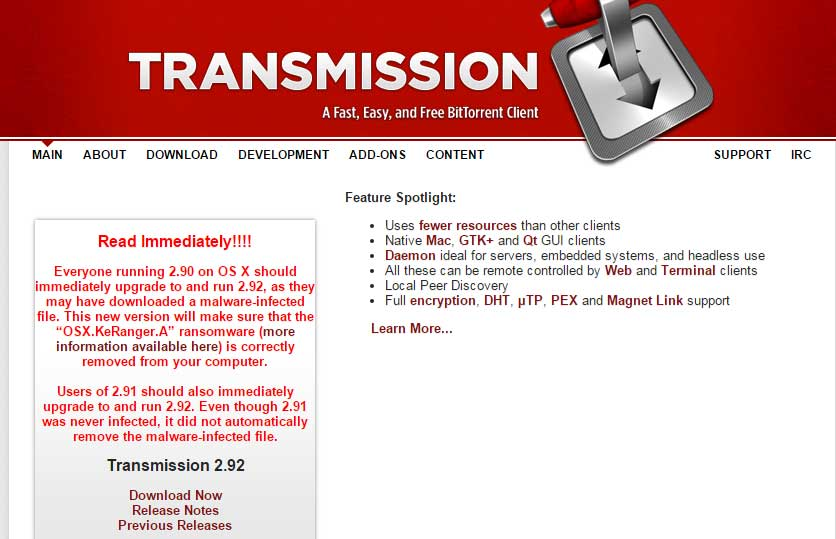 Transmission Homepage Message