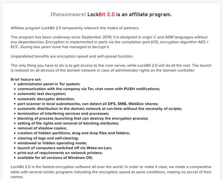 LockBit 2.0 affiliate program features