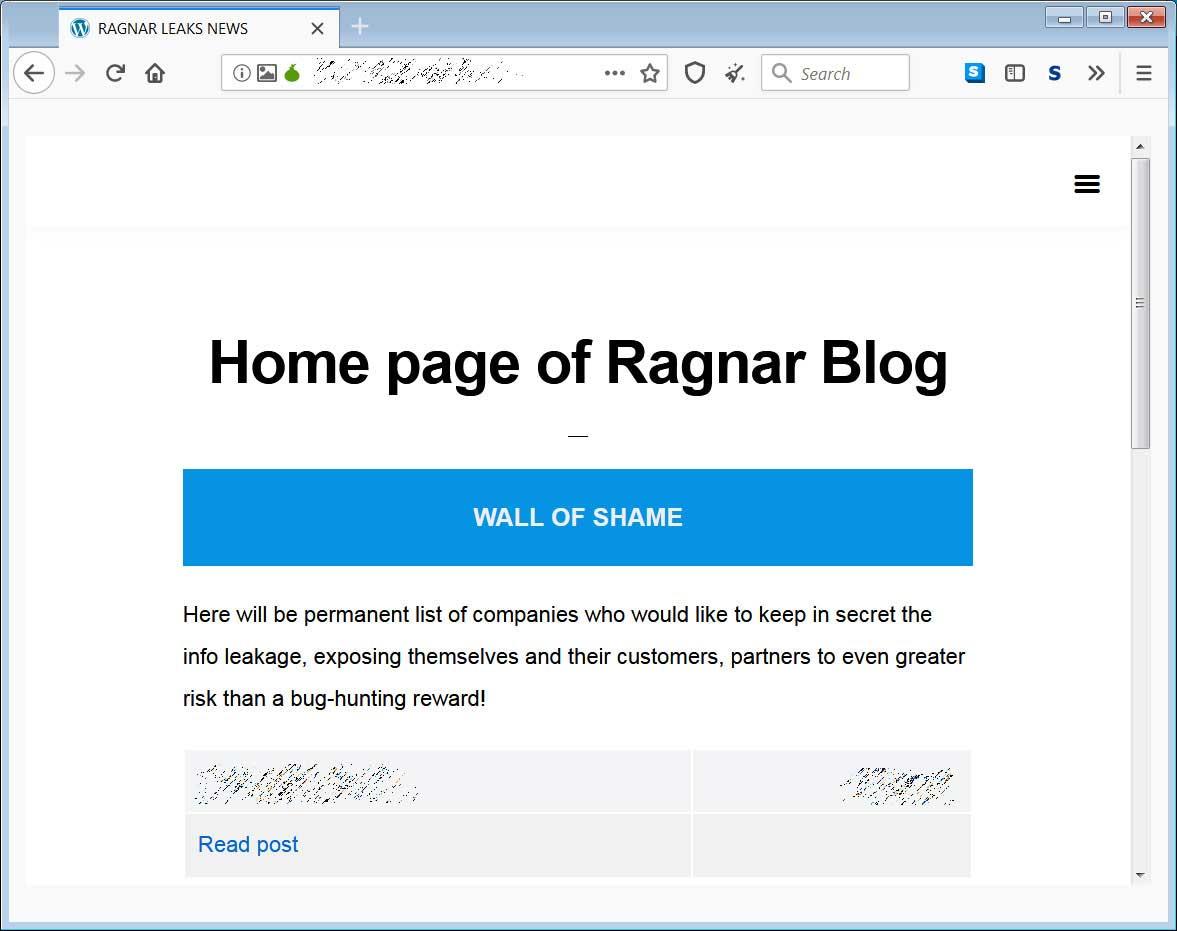 Ragnar Locker数据泄漏站点