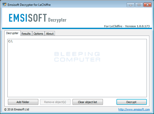 LeChiffre Decrypter Screen